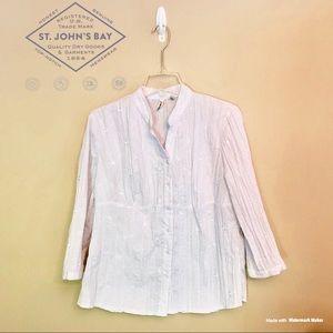 EUC - St. John's Bay - White Button Down Shirt - L